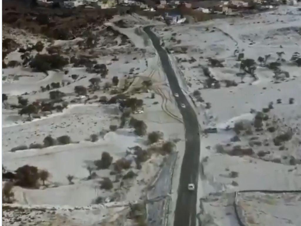 Lihat Video Unta Ngadem di Gurun Akibat Turun Salju di Arab