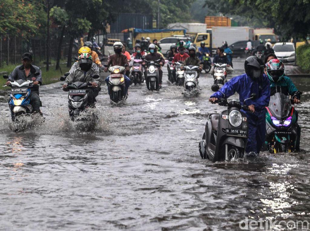 Aksi Pemotor di Cengkareng Nekat Terobos Genangan Air Hujan