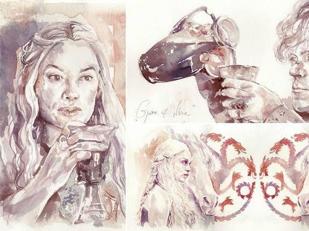 Bukan Diminum, Seniman Ini Menggoreskan Wine Jadi Lukisan Keren
