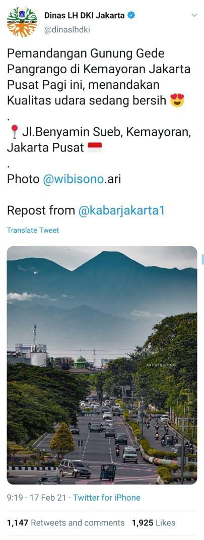 Screenshot Twitter Dinas LH DKI yang menampilkan foto karya Ari Wibisono