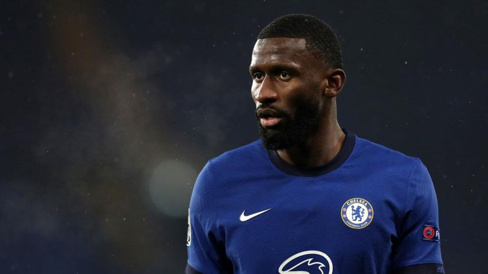 LONDON, ENGLAND - DECEMBER 08: Antonio Rudiger of Chelsea  during the UEFA Champions League Group E stage match between Chelsea FC and FC Krasnodar at Stamford Bridge on December 08, 2020 in London, England. A limited number of fans (2000) are welcomed back to stadiums to watch elite football across England. This was following easing of restrictions on spectators in tiers one and two areas only. (Photo by Catherine Ivill/Getty Images)
