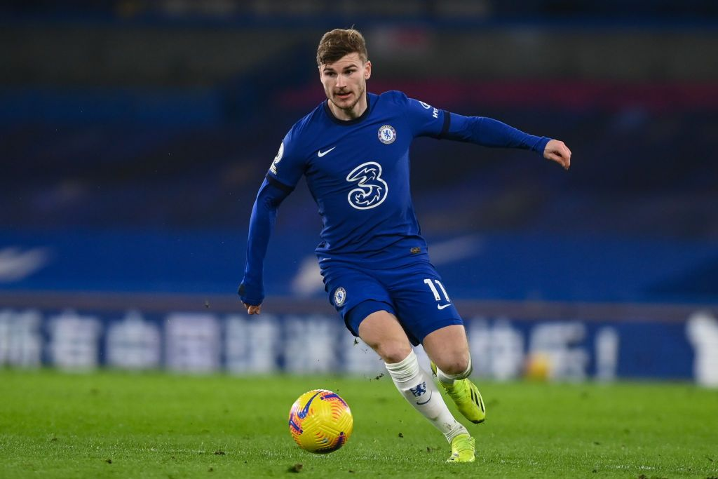 LONDON, ENGLAND - FEBRUARY 15: Timo Werner of Chelsea in action during the Premier League match between Chelsea and Newcastle United at Stamford Bridge on February 15, 2021 in London, England. Sporting stadiums around the UK remain under strict restrictions due to the Coronavirus Pandemic as Government social distancing laws prohibit fans inside venues resulting in games being played behind closed doors. (Photo by Mike Hewitt/Getty Images)