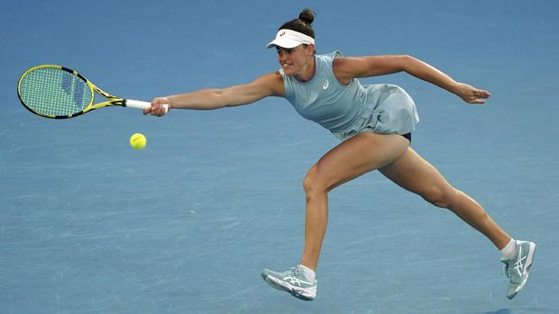 United States' Jennifer Brady hits a forehand return to Japan's Naomi Osaka during the women's singles final at the Australian Open tennis championship in Melbourne, Australia, Saturday, Feb. 20, 2021.(AP Photo/Mark Dadswell)