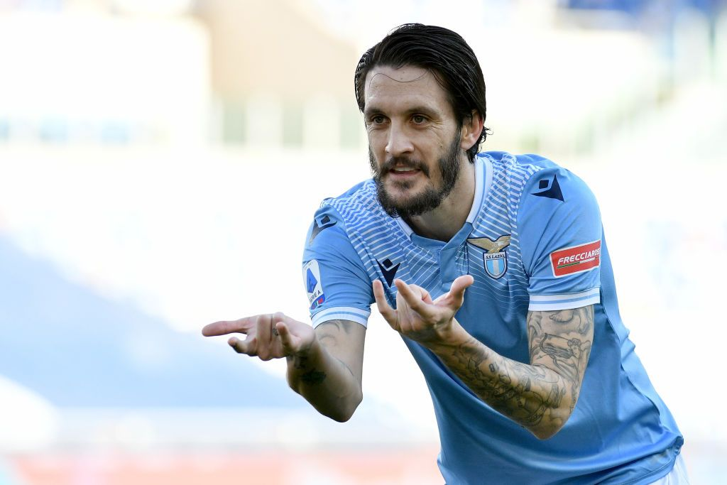 ROME, ITALY - FEBRUARY 20: Luis Alberto of SS Lazio celebrates the opening goal during the Serie A match between SS Lazio  and UC Sampdoria at Stadio Olimpico on February 20, 2021 in Rome, Italy. Sporting stadiums around Italy remain under strict restrictions due to the Coronavirus Pandemic as Government social distancing laws prohibit fans inside venues resulting in games being played behind closed doors. (Photo by Marco Rosi - SS Lazio/Getty Images)