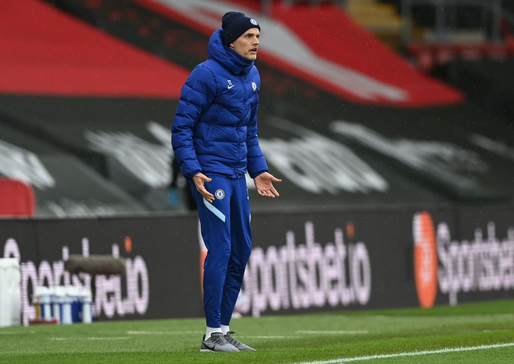SOUTHAMPTON, ENGLAND - FEBRUARY 20: Thomas Tuchel, Manager of Chelsea reacts during the Premier League match between Southampton and Chelsea at St Mary's Stadium on February 20, 2021 in Southampton, England. Sporting stadiums around the UK remain under strict restrictions due to the Coronavirus Pandemic as Government social distancing laws prohibit fans inside venues resulting in games being played behind closed doors. (Photo by Neil Hall - Pool/Getty Images)