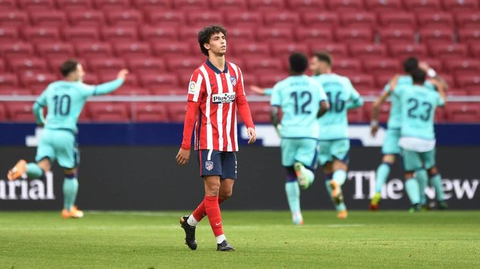 MADRID, SPAIN - FEBRUARY 20: Joao Felix of Atletico de Madrid reacts after conceding their sides first goal, scored by Jose Luis Morales of Levante UD during the La Liga Santander match between Atletico de Madrid and Levante UD at Estadio Wanda Metropolitano on February 20, 2021 in Madrid, Spain. Sporting stadiums around Spain remain under strict restrictions due to the Coronavirus Pandemic as Government social distancing laws prohibit fans inside venues resulting in games being played behind closed doors. (Photo by Denis Doyle/Getty Images)