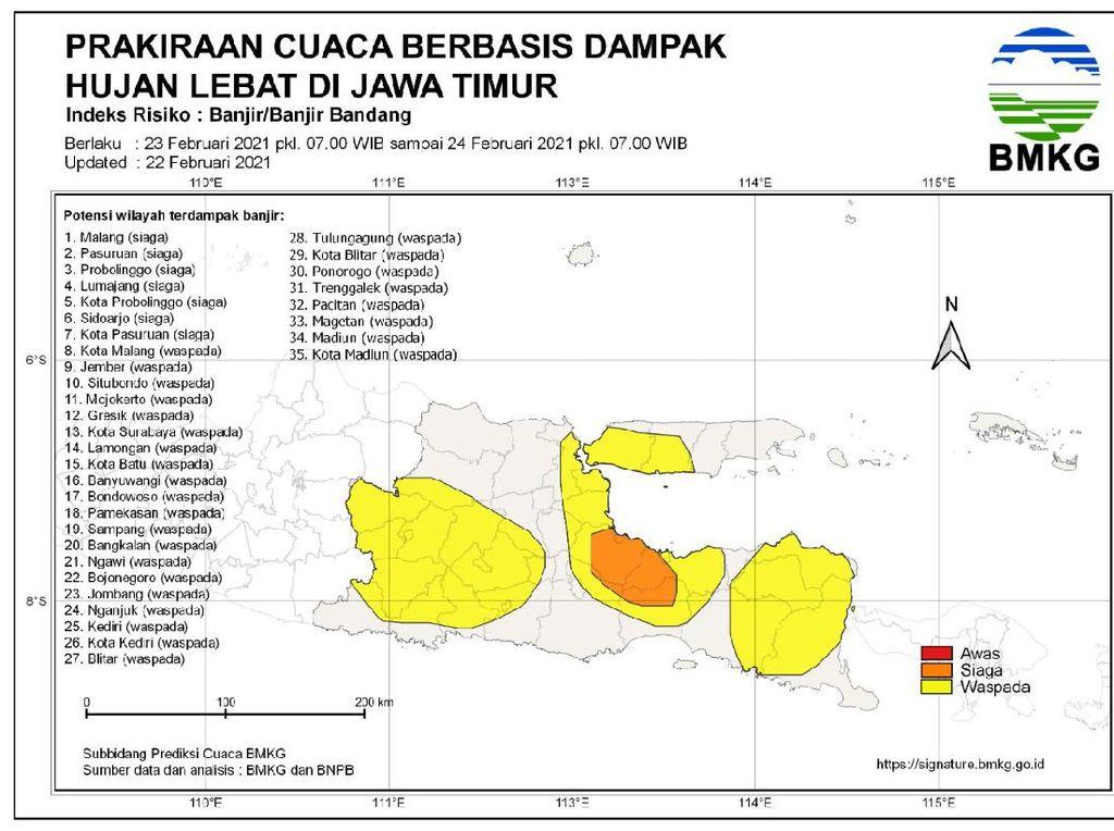 7 Daerah di Jatim Siaga Banjir Bandang, 28 Kab/Kota Diimbau Waspada