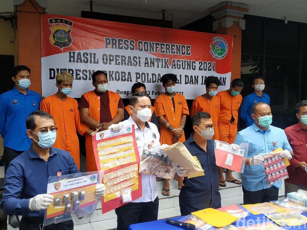 Polda Bali Tangkap 72 Tersangka Kasus Narkoba, 4 di Antaranya WNA