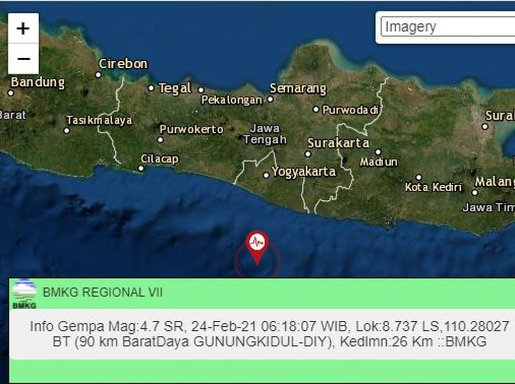 Gempa M 4,7 Gunung Kidul Terasa di Pacitan Namun Tak Ada Kerusakan