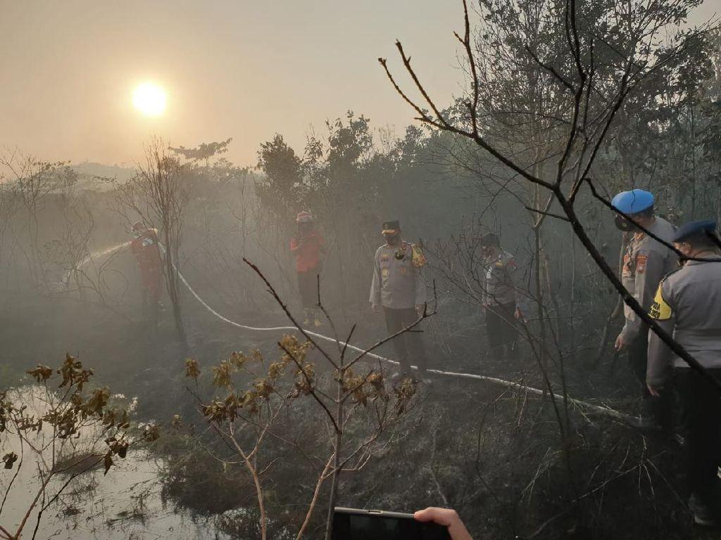 Kapolda Kepri Terjun Pimpin 7 Jam Pemadaman Karhutla di Pulau Galang