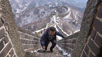 Salju di Tembok Besar China Mulai Mencair