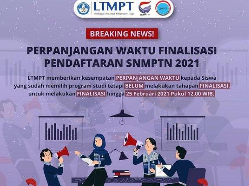 Daftar SNMPTN 2021 Belum Selesai? LTMPT Kasih Perpanjangan Waktu