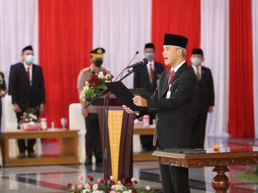Lantik Kepala Daerah Baru, Ganjar Kutip Batas Kekuasaan Presiden