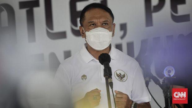 Menteri Pemuda dan Olahraga Zainudin Amali saat memberikan keterangan di Jakarta, Jumat, 26 Februari 2021.
