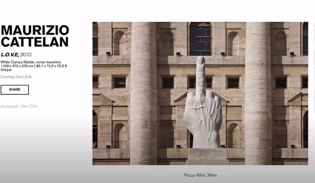 Pajangan estetik Maurizio Cattelan - L.O.V.E, 201 White Carrara Marble.