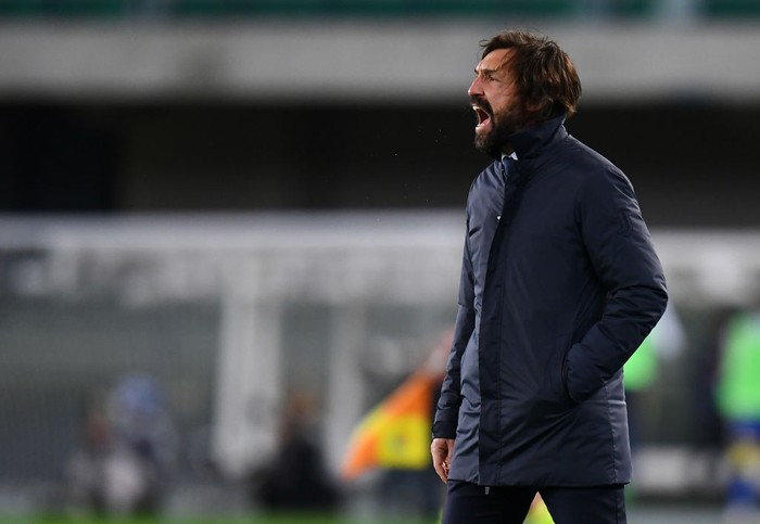 VERONA, ITALY - FEBRUARY 27: Andrea Pirlo, Head Coach of Juventus shouts instructions during the Serie A match between Hellas Verona FC and Juventus at Stadio Marcantonio Bentegodi on February 27, 2021 in Verona, Italy. Sporting stadiums around Italy remain under strict restrictions due to the Coronavirus Pandemic as Government social distancing laws prohibit fans inside venues resulting in games being played behind closed doors. (Photo by Alessandro Sabattini/Getty Images )