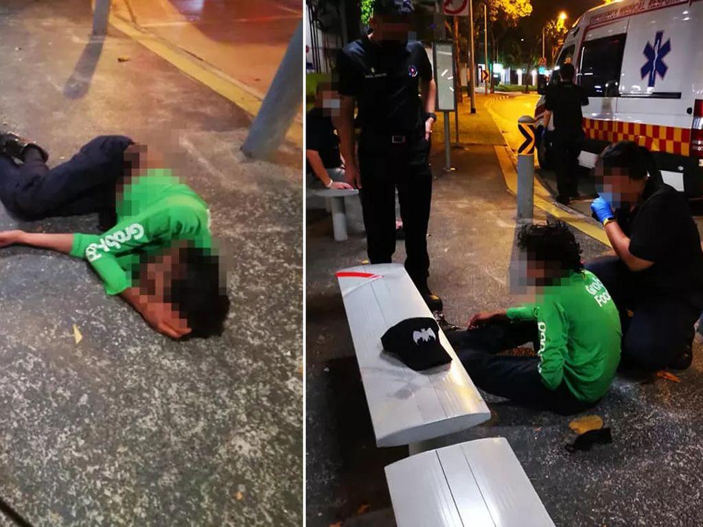 Kelelahan Kerja, Ojol Pengantar Makanan Ini Pingsan di Halte Bus!