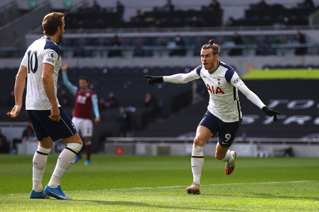 LONDON, ENGLAND - FEBRUARY 28: Gareth Bale of Tottenham Hotspur celebrates after scoring their side's first goal during the Premier League match between Tottenham Hotspur and Burnley at Tottenham Hotspur Stadium on February 28, 2021 in London, England. Sporting stadiums around the UK remain under strict restrictions due to the Coronavirus Pandemic as Government social distancing laws prohibit fans inside venues resulting in games being played behind closed doors. (Photo by Julian Finney/Getty Images)