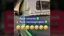 Viral Wanita Dijemput Pacar Pakai Mobil Pick Up Sayur, Dipuji Para Pria
