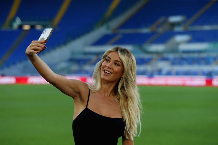 ROME, ITALY - JULY 04: TV speaker Diletta Leotta poses for a selfie prior to the Serie A match between SS Lazio and AC Milan at Stadio Olimpico on July 4, 2020 in Rome, Italy. (Photo by Paolo Bruno/Getty Images)