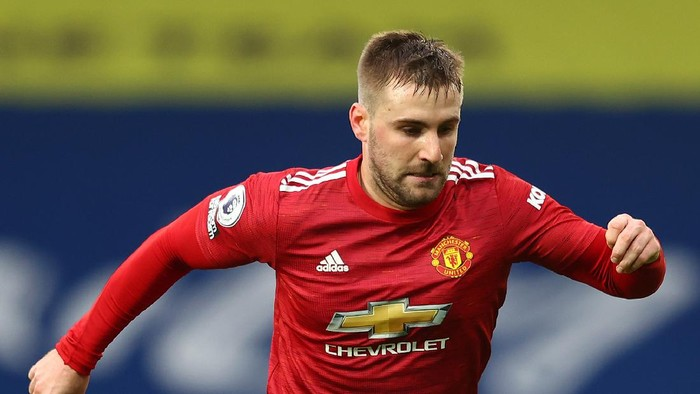 WEST BROMWICH, ENGLAND - FEBRUARY 14: Luke Shaw of Manchester United during the Premier League match between West Bromwich Albion and Manchester United at The Hawthorns on February 14, 2021 in West Bromwich, England. Sporting stadiums around the UK remain under strict restrictions due to the Coronavirus Pandemic as Government social distancing laws prohibit fans inside venues resulting in games being played behind closed doors. (Photo by Michael Steele/Getty Images)