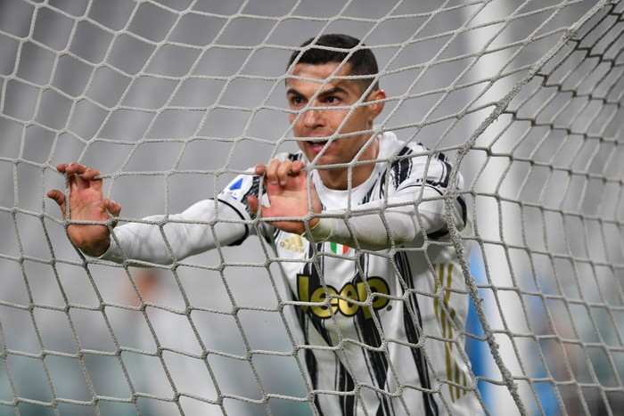 TURIN, ITALY - MARCH 02: Cristiano Ronaldo of Juventus looks on  during the Serie A match between Juventus and Spezia Calcio at Allianz Stadium on March 02, 2021 in Turin, Italy. Sporting stadiums around the Italy remain under strict restrictions due to the Coronavirus Pandemic as Government social distancing laws prohibit fans inside venues resulting in games being played behind closed doors. (Photo by Valerio Pennicino/Getty Images)