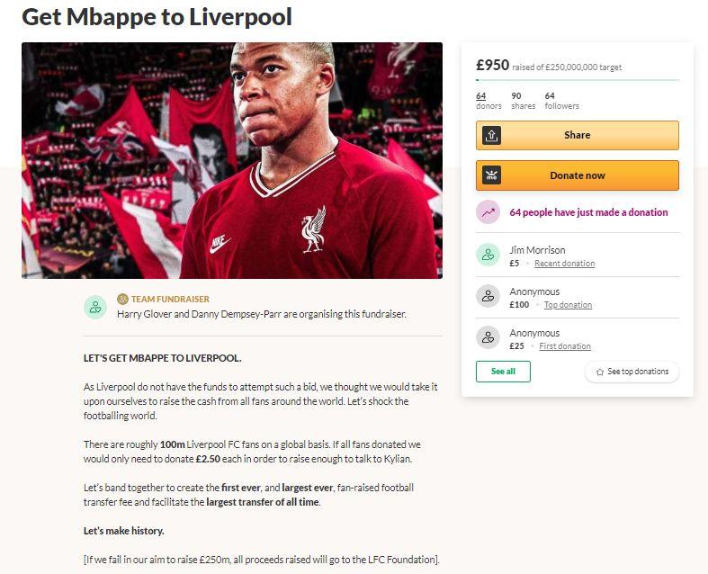 Penggemar Liverpool membuka penggalangan dana untuk pembelian Kylian Mbappe ke Anfield via laman GoFundMe.