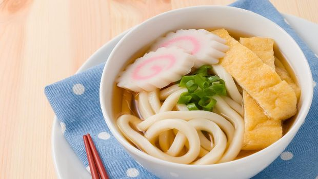 Udon is a type of thick wheat-flour noodle popular in Japanese cuisine.