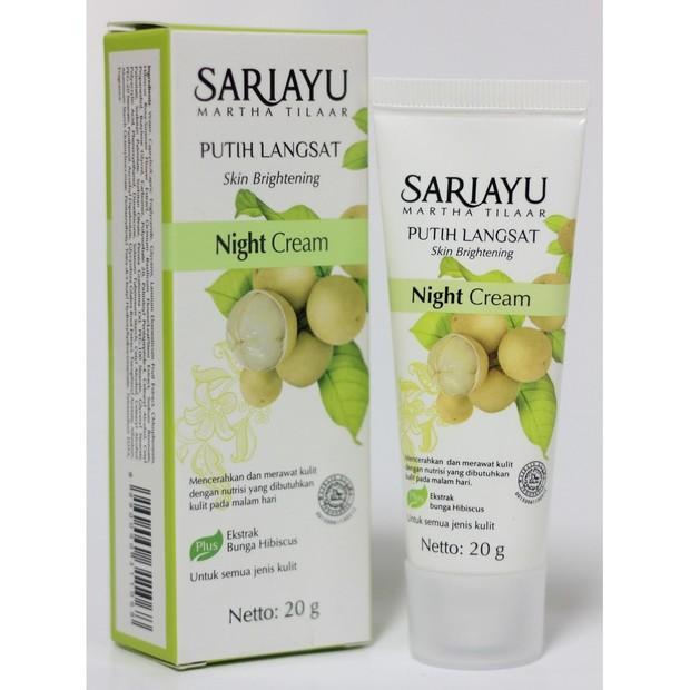 Sariayu Putih Langsat Night Cream mencerahkan kulit dengan ekstrak langsat di dalamnya/shoope.co.id