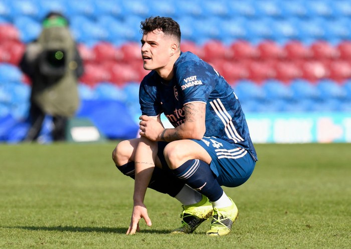 BURNLEY, ENGLAND - MARCH 06: Granit Xhaka of Arsenal looks dejected following the Premier League match between Burnley and Arsenal at Turf Moor on March 06, 2021 in Burnley, England. Sporting stadiums around the UK remain under strict restrictions due to the Coronavirus Pandemic as Government social distancing laws prohibit fans inside venues resulting in games being played behind closed doors. (Photo by Peter Powell - Pool/Getty Images)