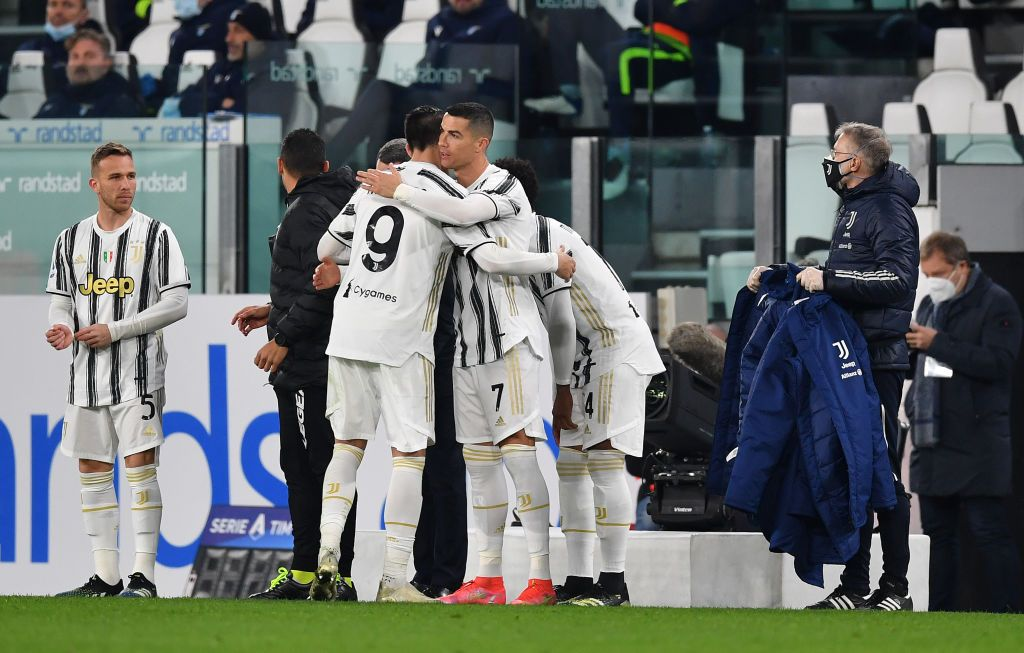 TURIN, ITALY - MARCH 06: Adrien Rabiot of Juventus celebrates with teammates after scoring their team's first goal  during the Serie A match between Juventus  and SS Lazio at Allianz Stadium on March 06, 2021 in Turin, Italy. Sporting stadiums around Italy remain under strict restrictions due to the Coronavirus Pandemic as Government social distancing laws prohibit fans inside venues resulting in games being played behind closed doors. (Photo by Valerio Pennicino/Getty Images)