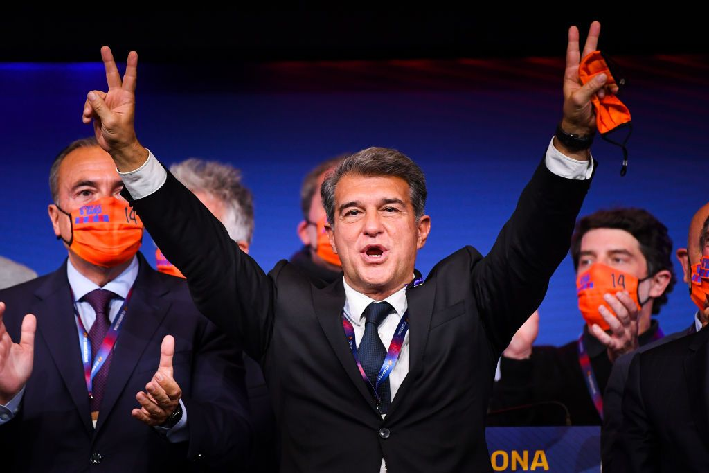 BARCELONA, SPAIN - MARCH 07: New FC Barcelona President Joan Laporta celebrates during a press conference following his victory in the FC Barcelona President Elections at Camp Nou on March 07, 2021 in Barcelona, Spain. (Photo by David Ramos/Getty Images)
