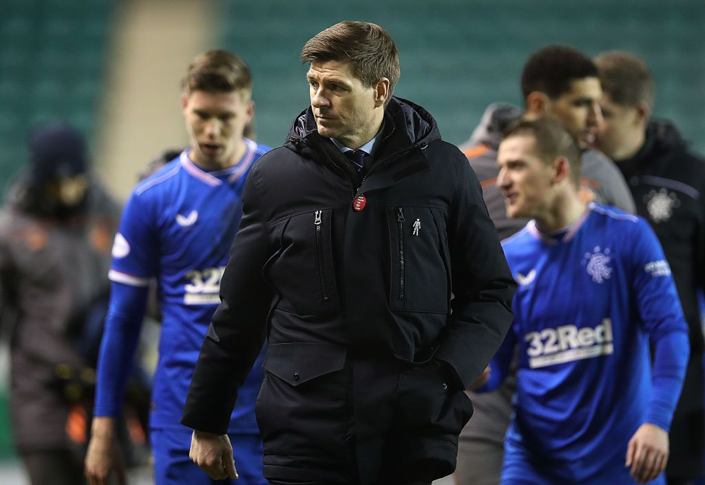 EDINBURGH, SCOTLAND - JANUARY 27: Rangers Manager Steven Gerrard is seen at full time during the Ladbrokes Scottish Premiership match between Hibernian and Rangers at Easter Road on January 27, 2021 in Edinburgh, Scotland. Sporting stadiums around the UK remain under strict restrictions due to the Coronavirus Pandemic as Government social distancing laws prohibit fans inside venues resulting in games being played behind closed doors. (Photo by Ian MacNicol/Getty Images)