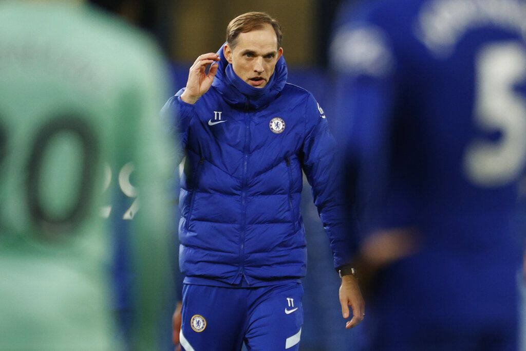 Chelsea's head coach Thomas Tuchel reacts at the end of the English Premier League soccer match between Chelsea and Everton at the Stamford Bridge stadium in London, Monday, March 8, 2021. (John Sibley/Pool via AP)