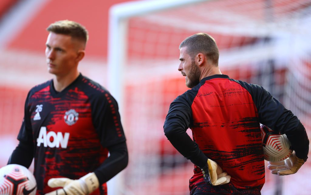 MANCHESTER, ENGLAND - SEPTEMBER 19: David De Gea of Manchester United warms up prior to  the Premier League match between Manchester United and Crystal Palace at Old Trafford on September 19, 2020 in Manchester, England. (Photo by Richard Heathcote/Getty Images )
