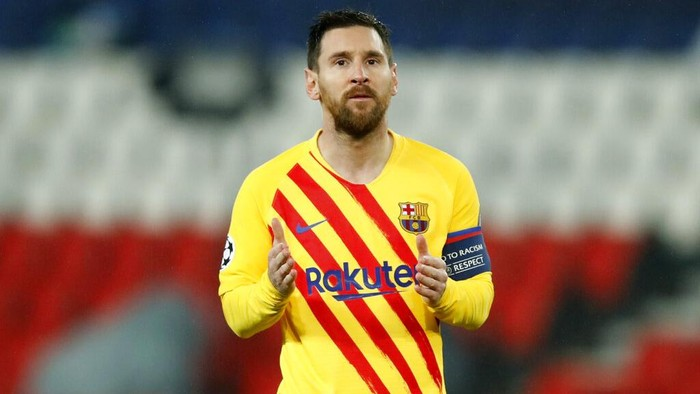 Barcelonas Lionel Messi reacts after a missed scoring opportunity during the Champions League, round of 16, second leg soccer match between Paris Saint-Germain and FC Barcelona at the Parc des Princes stadium in Paris, Wednesday, March 10, 2021. (AP Photo/Christophe Ena)