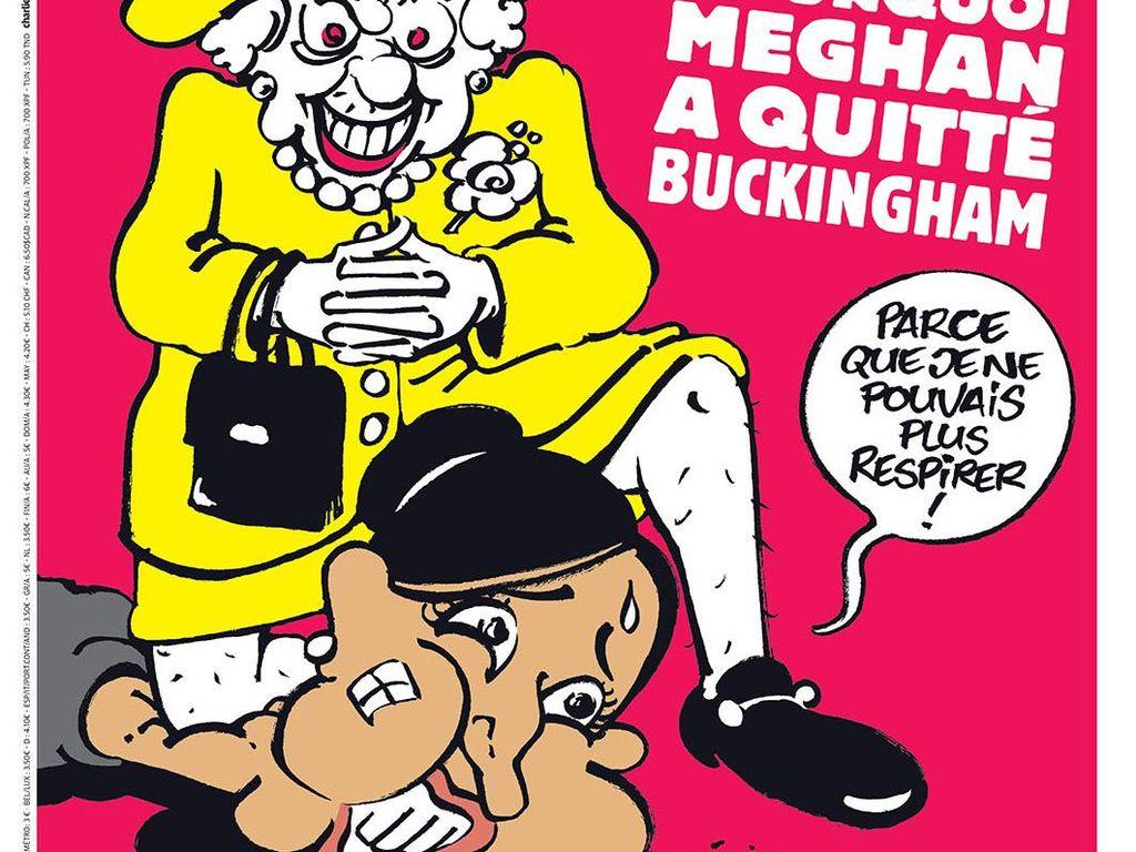Charlie Hebdo Rilis Kartun Ratu Inggris Berlutut di Leher Meghan Markle