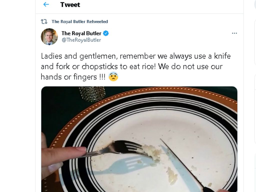 Pakar Etiket Dikritik Netizen Asia, Sebut Makan Nasi Harus Pakai Pisau