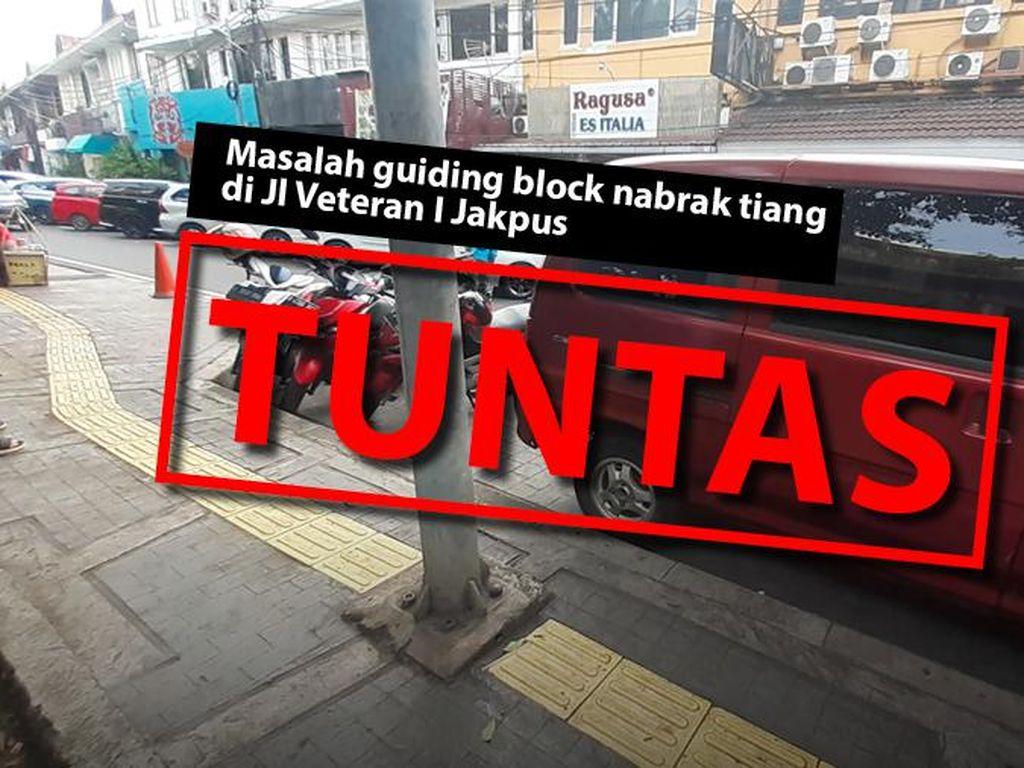 Before-After Perbaikan Guiding Block Tunanetra yang Sempat Nabrak Tiang