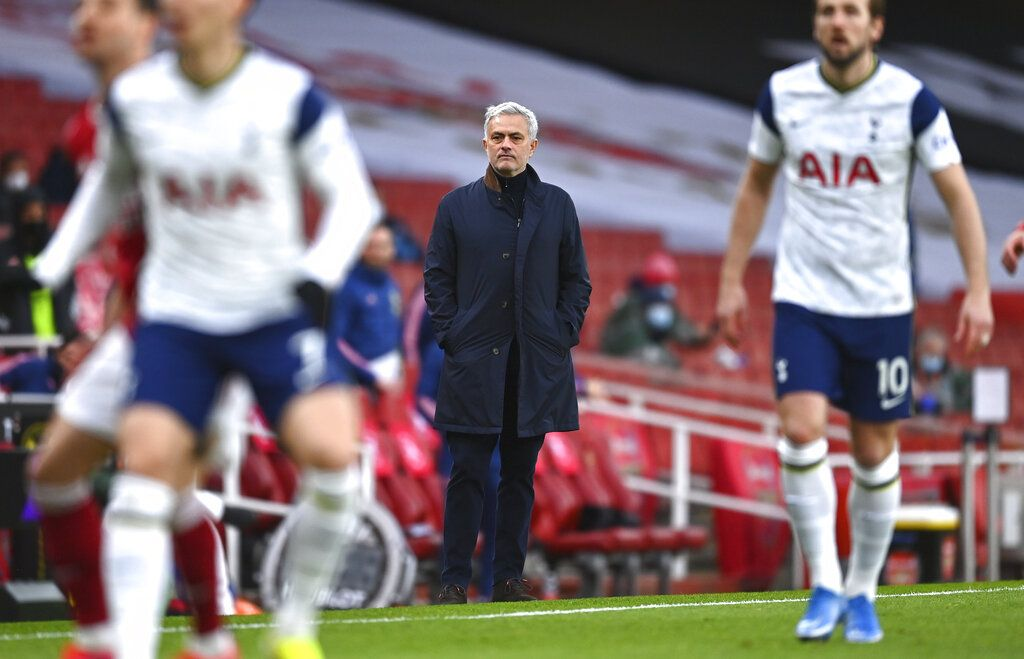 Tottenham's manager Jose Mourinho reacts during the English Premier League soccer match between Arsenal and Tottenham Hotspur at the Emirates stadium in London, England, Sunday, March 14, 2021. (Dan Mullan/Pool via AP)