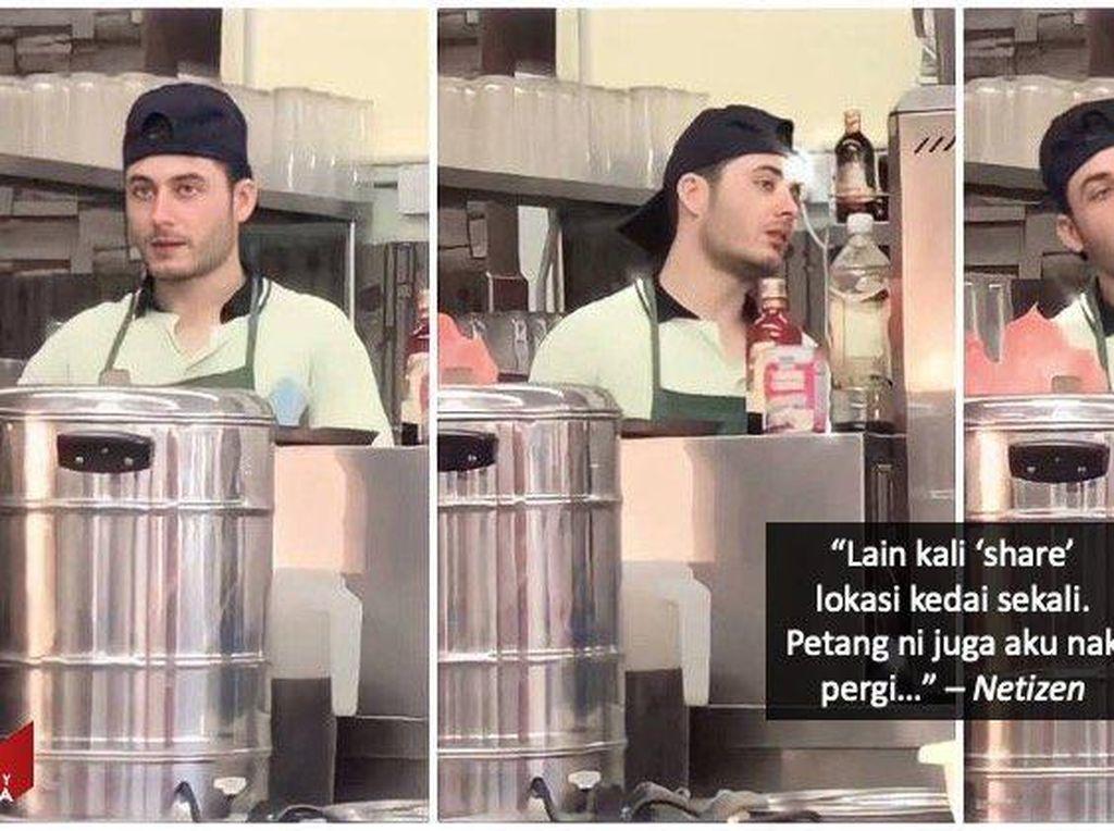Mirip Aktor Turki, Penjaga Warung Makan Ini Tampannya Bikin Gagal Fokus!