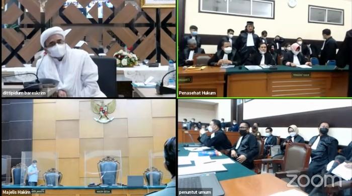 Screenshot live streaming persidangan Habib Rizieq Shihab