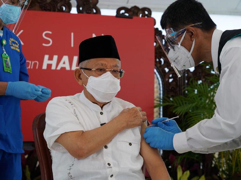 Maruf Amin Disuntik Vaksin Covid-19 Dosis Kedua: Tidak Ada Masalah