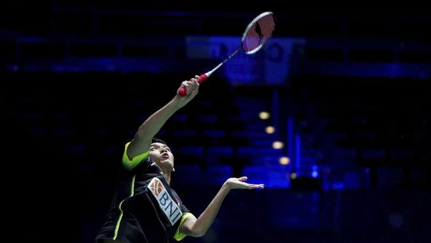 Indonesia's Jonatan Christie in action during his match against Thailand's Kunlavut Vitidsarn, during day one of the All England Open Badminton Championships at Utilita Arena, in Birmingham, England, Wednesday March 17, 2021. (Zac Goodwin/PA via AP)