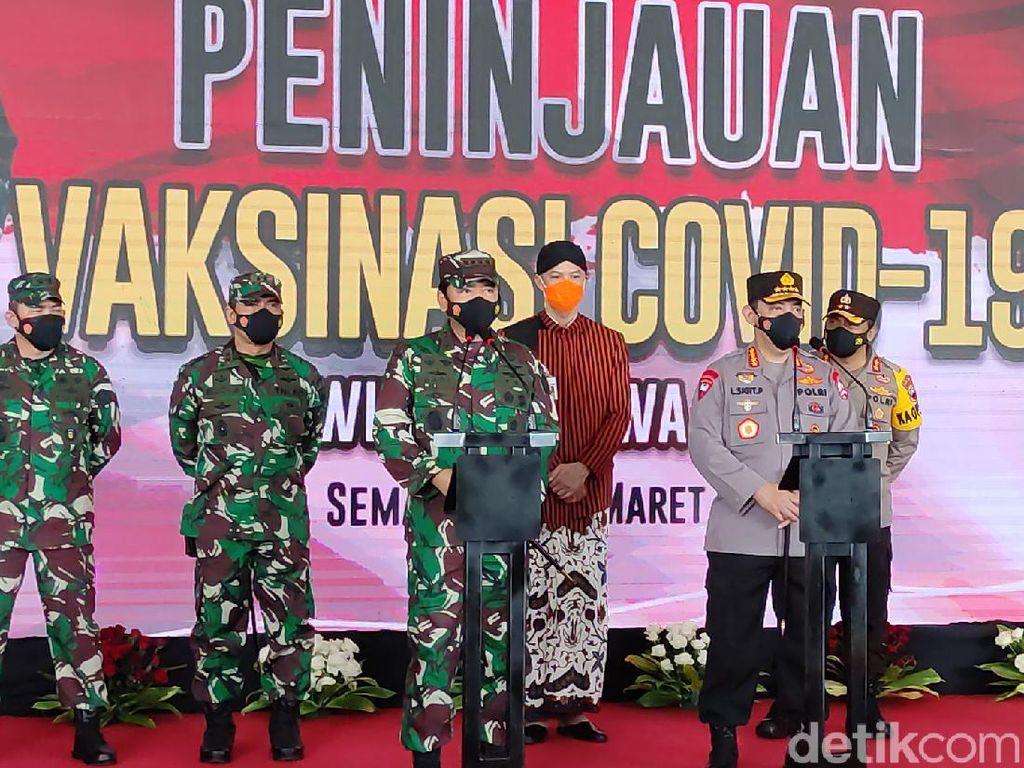 Panglima TNI dan Kapolri Tinjau Vaksinasi Corona Personelnya di Semarang