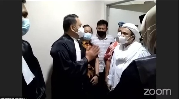 Screenshot live streaming sidang Habib Rizieq (dok. YouTube PN Jaktim)