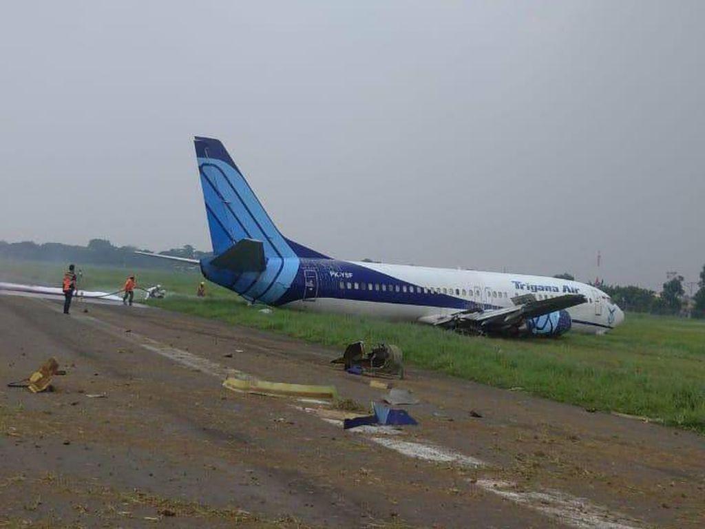 KNKT Sudah Minta Riwayat Perawatan Pesawat Trigana Air Tergelincir di Halim