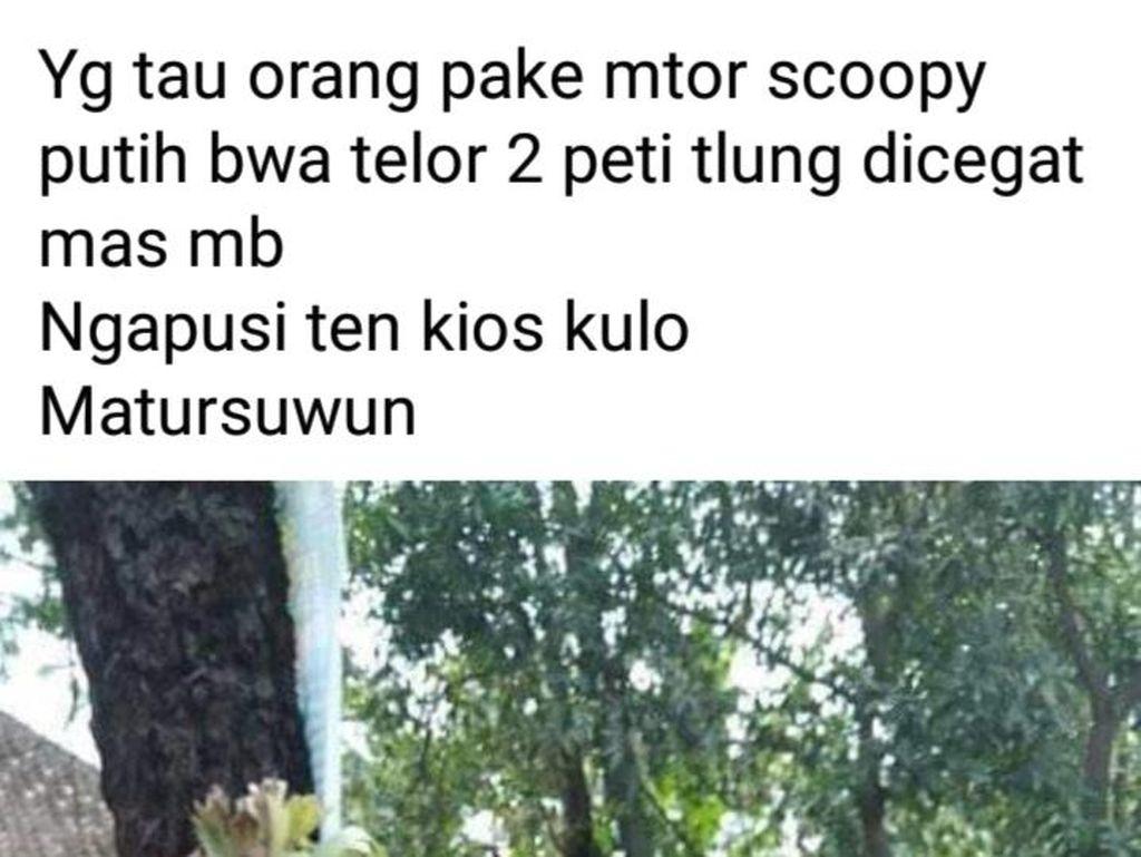 Ngaku untuk Bansos, Pemotor Gasak 2 Peti Telur dari Warung di Klaten