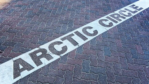 Line of the Arctic Circle in Rovaniemi, Finland
