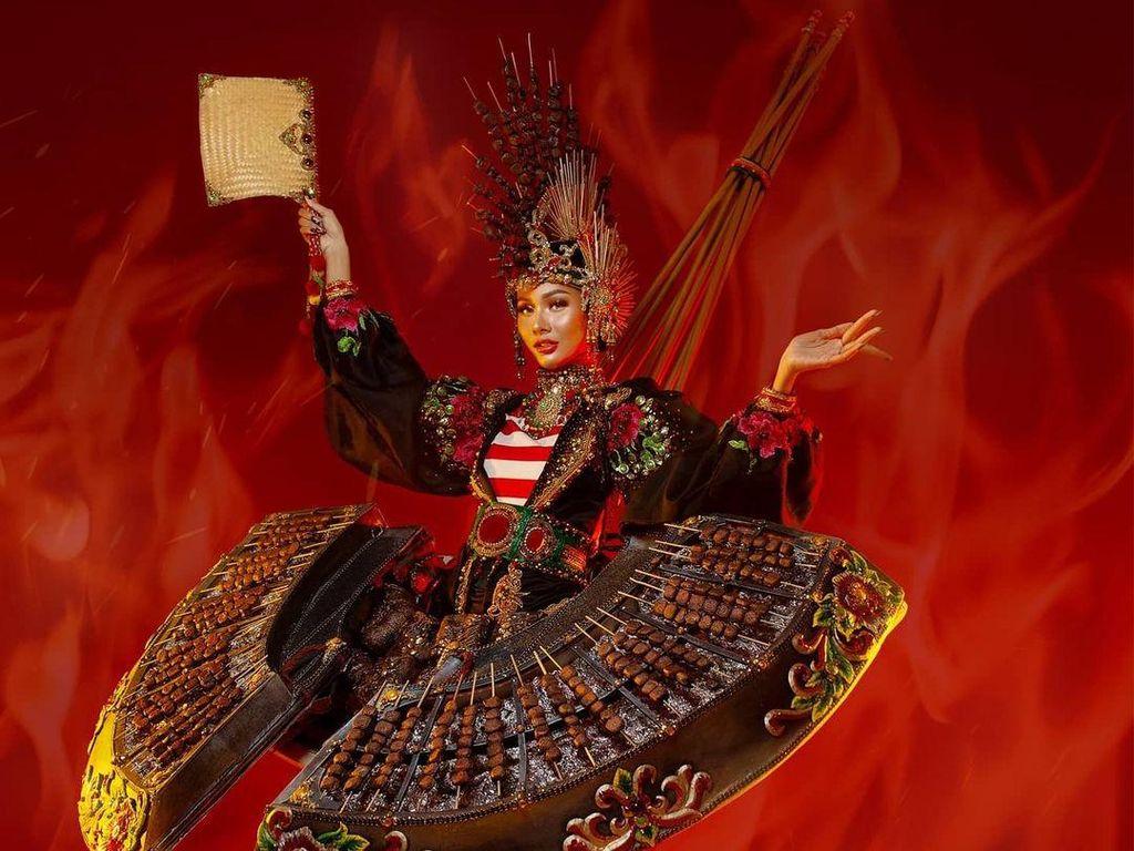 8 Kostum Nasional Unik Miss Grand International 2020, Indonesia Kostum Sate